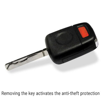 Removing the key activates the anti-theft protection